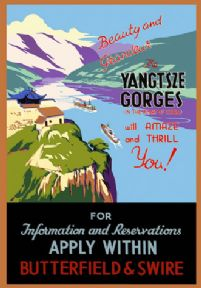 Vintage Yangtsze Gorges Travel Poster. China